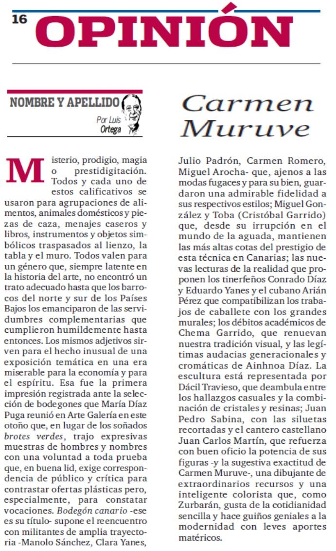 Artículo sobre Cuadros Carmen Muruve en el periódico La Opinión de Tenerife